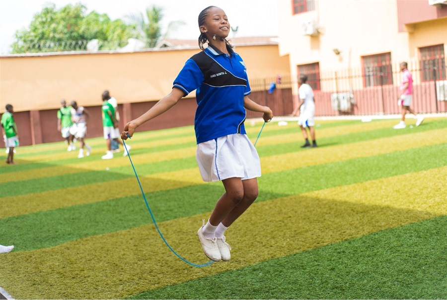 A Student Skipping The Rope
